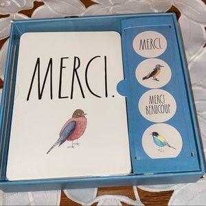 """🆕RAE DUNN NOTE CARD SET """"MERCI"""""""